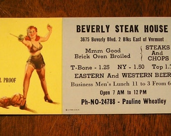 1940s Vintage Beverly Steak House Pin Up Girl Advertising Card, Foil Proof