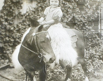 The Happiest Little Girl on a Pony, 1920s Original Vintage Photograph