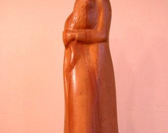 """1960's Carl Freemanson Sculptured, """"Embrace"""", Northwest Wood Sculptor"""