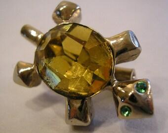 Vintage Rhinestone Turtle Pin, Brooch