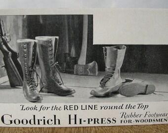 Goodrich Hi-Press Rubber Footwear, 1940s Vintage Boots Advertising Card
