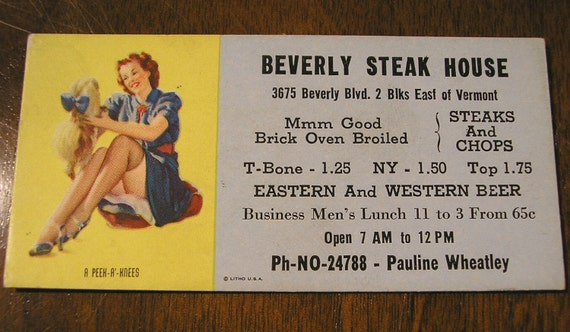 1940s Vintage Beverly Steak House Pin Up Girl Advertising Card, A Peek A' Knees