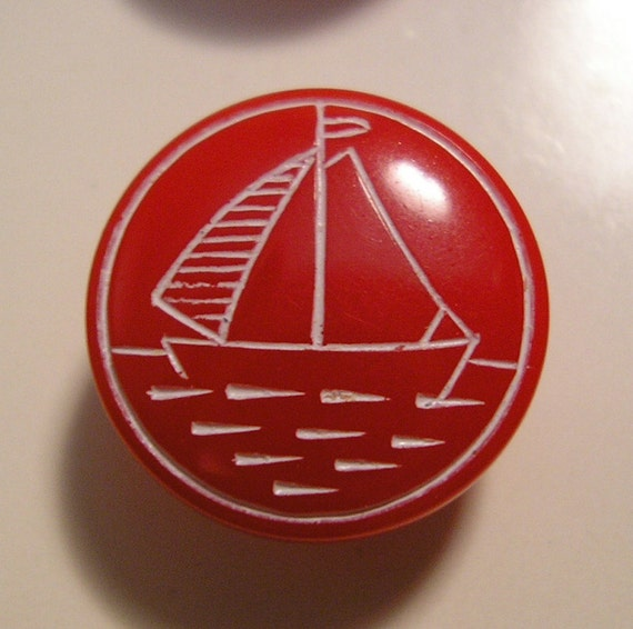 Vintage Sailboat Buttons, 12 Pieces New on Cards, 1/2 Inch, Sail Boat Ship