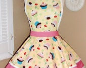 Cupcake Print with Pink Polka Dots Womans Retro Apron With Tiered Skirt And Bib
