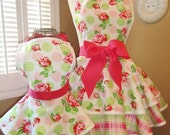 Mother and Daughter Matching Retro Apron Set in Roses, Plaid and Polka Dot Print...Last One Available and Ready To Ship