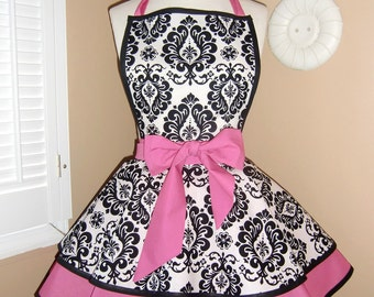Damask Print Accented with Candy Pink Womans Retro Apron With Tiered Skirt And Bib