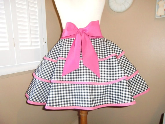 Gingham Print Womans Retro Half Apron With Triple Layer Tiered Skirt...Ready To Ship