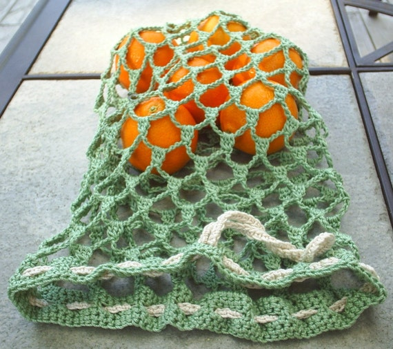 Cotton mesh bag, green, large size