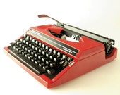 Vintage red manual  typewriter - Silver reed Sillverette II