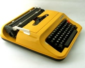 Vintage yellow manual  typewriter - Privileg 350T from Europe
