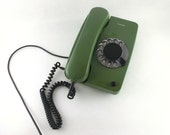 vintage green rotary telephone 80s