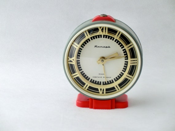 Vintage alarm clock  grey / red made in Russia