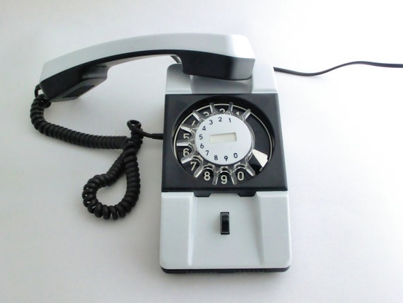Vintage black and white rotary telephone