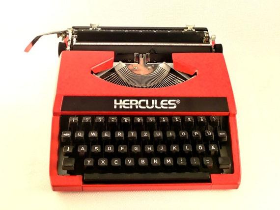 SUMMER SALE - Vintage red manual  typewriter - HERCULES