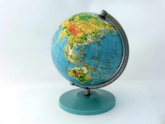 "Vintage 70s world globe 7"" diameter"