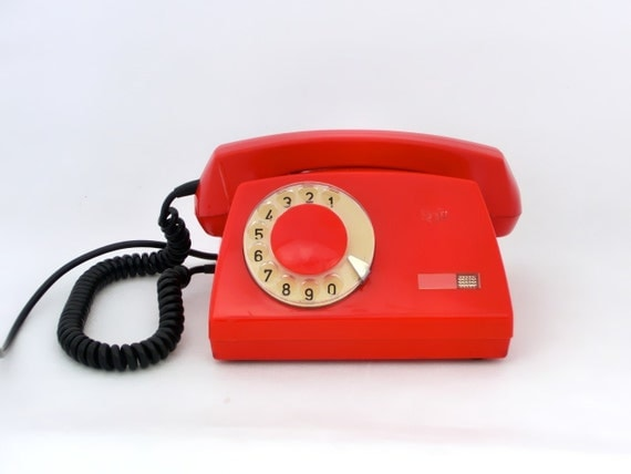 RESERVED FOR RAY - Vintage rotary telephone red