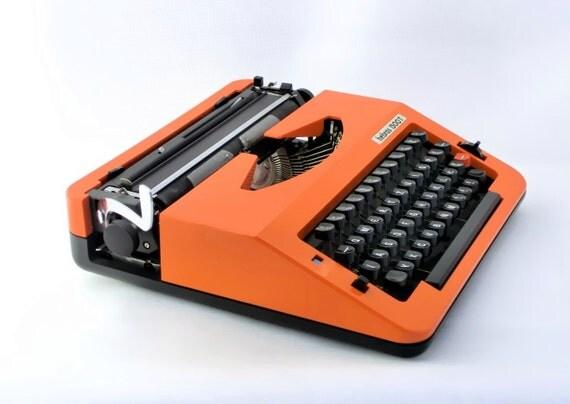 Vintage orange manual  typewriter from Europe