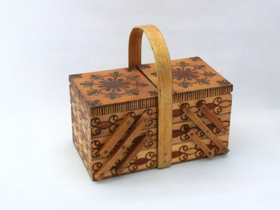 SALE - Vintage wooden sewing storage box - folk style