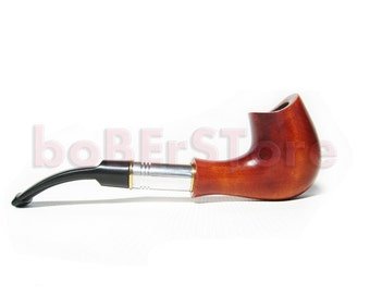 "Collection Wooden Smoking Pipe-Tobacco pipe/pipes Handcrafted. Exclusive Design Wooden Pipe Wood pipe ""SADDLE METAL & Pouch Gift"""