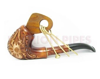 Hand carved Long Tobacco pipe-pipes Smoking Pipe/Pipes SPIDER Wooden pipe. BEST Wood pipe Gift Set. Limited Edition