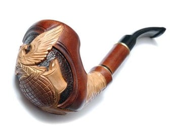 American Eagle Long Tobacco Pipe Smoking Pipe Engraved. Hand Carved GOLD EAGLE, Wooden pipe Limited Edition