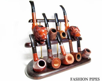 New Ash-Tree Wood Pipe Stand-Showcase Rack Holder for 9 Tobacco Smoking Pipes . Handmade.....LIMITED Edition.....