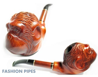 "Exclusive APE Pipe, Long Wooden Pipe, Tobacco Pipe/Pipes, Churchwarden Smoking pipes/pipe ""MONKEY HEAD"". Extra Long Pipes - Handcrafted"