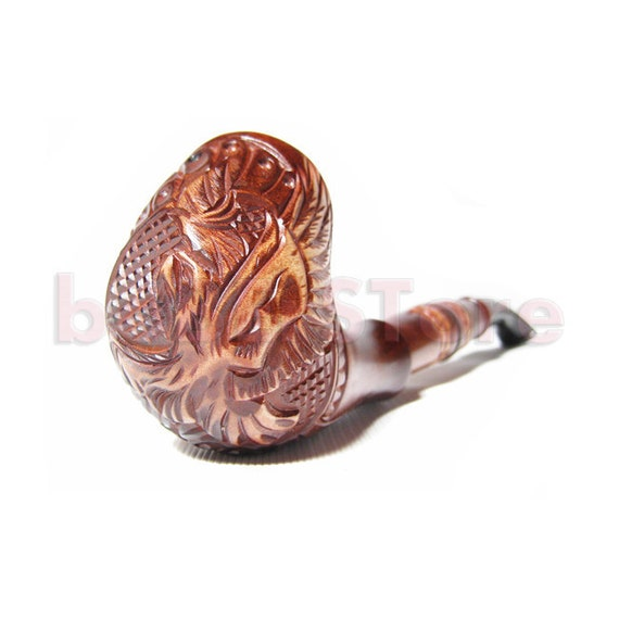 New Churchwarden Pipe, American Long Pipe Tobacco Pipe, Smoking Pipe Engraved. HANDCRAFTED GOLD EAGLE, Limited Edition