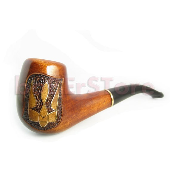 "Author Collection Tobacco Pipe Smoking Pipe. Hand Carved Wooden Pipe Inlaid ""TRIDENT"" Wood Pipe ......Limited Edition....."