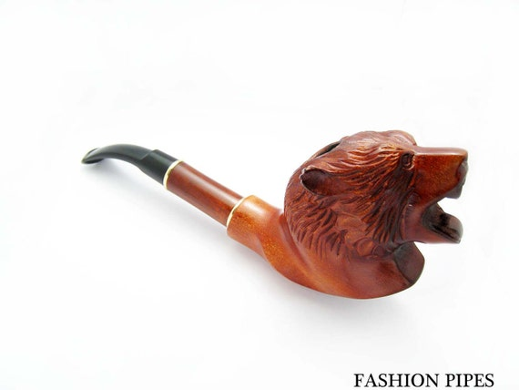 Carved Pipe Tobacco Pipe - Pipes, Long Smoking Pipe/Pipes GRIZZLY BEAR Wooden pipe-pipes of Pear Wood Handcrafted. Exclusive Pipe