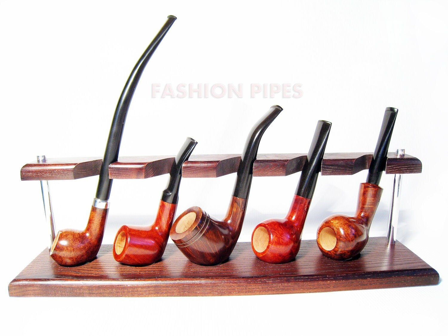 New Wood Wooden Pipes Stand Showcase Rack Holder For 5