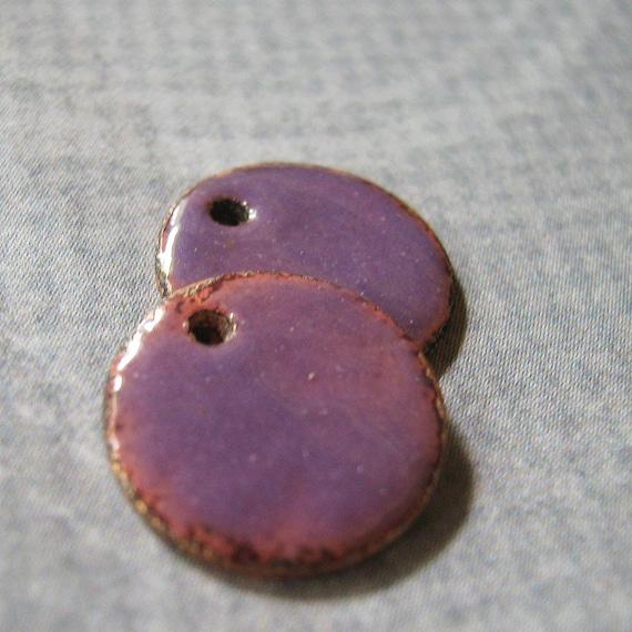 Lilac Drops  enameled copper discs