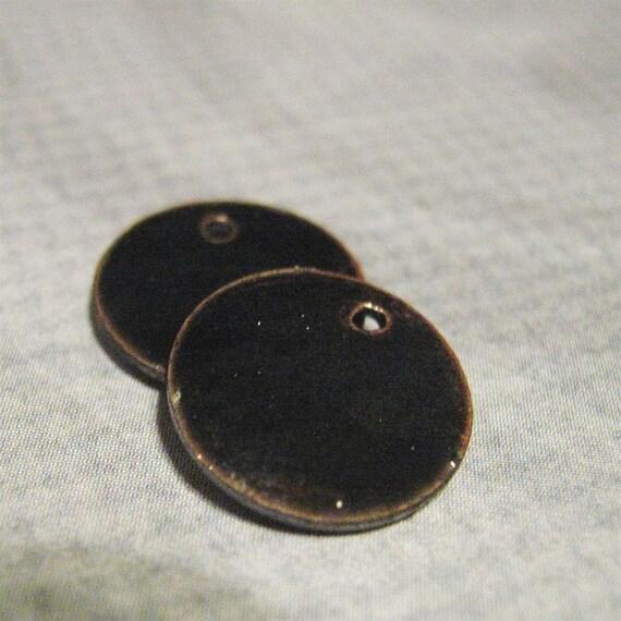 Midnight enameled copper discs