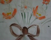 Hand-painted sheer curtain panel