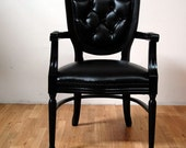 Black Tufted Vinyl On Black Antique French Louis Chair