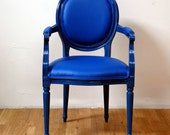 Blue Vinyl on Blue French Anitque Louis Armchair