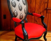 Antique Louis Style Parlor Chair Accent Armchair with Red Cotton & George Washington Fabric