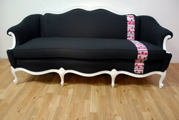 Items similar to Black and Pink Antique Sofa on Etsy
