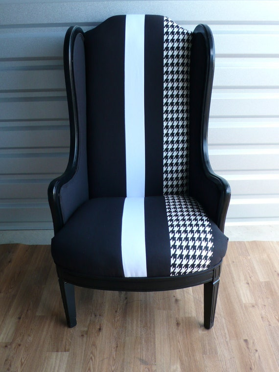 Black Slim Wing Armchair with White & Houndstooth Stripe