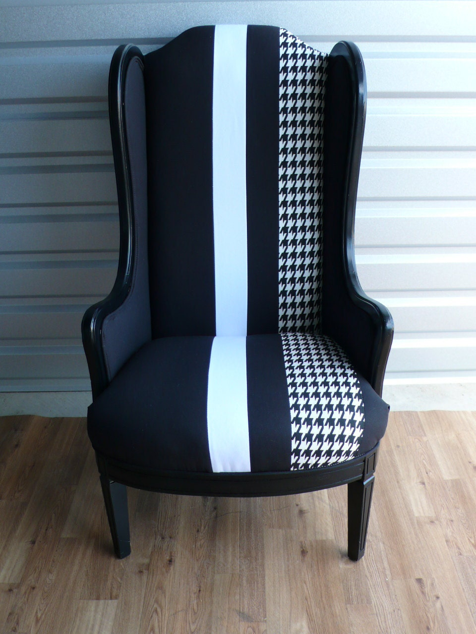 Black Slim Wing Armchair with White amp Houndstooth Stripe