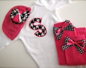 Monogrammed Onesie, Knit Hat w/ Bow, and Baby Legs- Houndstooth