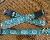 "Handmade Dog Collar with Woven Jacquard Ribbon 18"" Long"