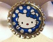 Hello Kitty Blue Polka Dot Double Bottle Cap Hair Bow