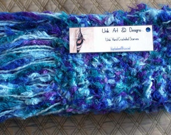 Blue Ultra-Soft Multi-Colored Hand-Crocheted Scarf