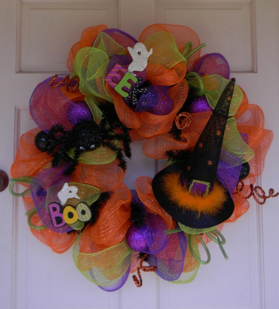 Halloween Mesh Wreath Witch's Hat Spider