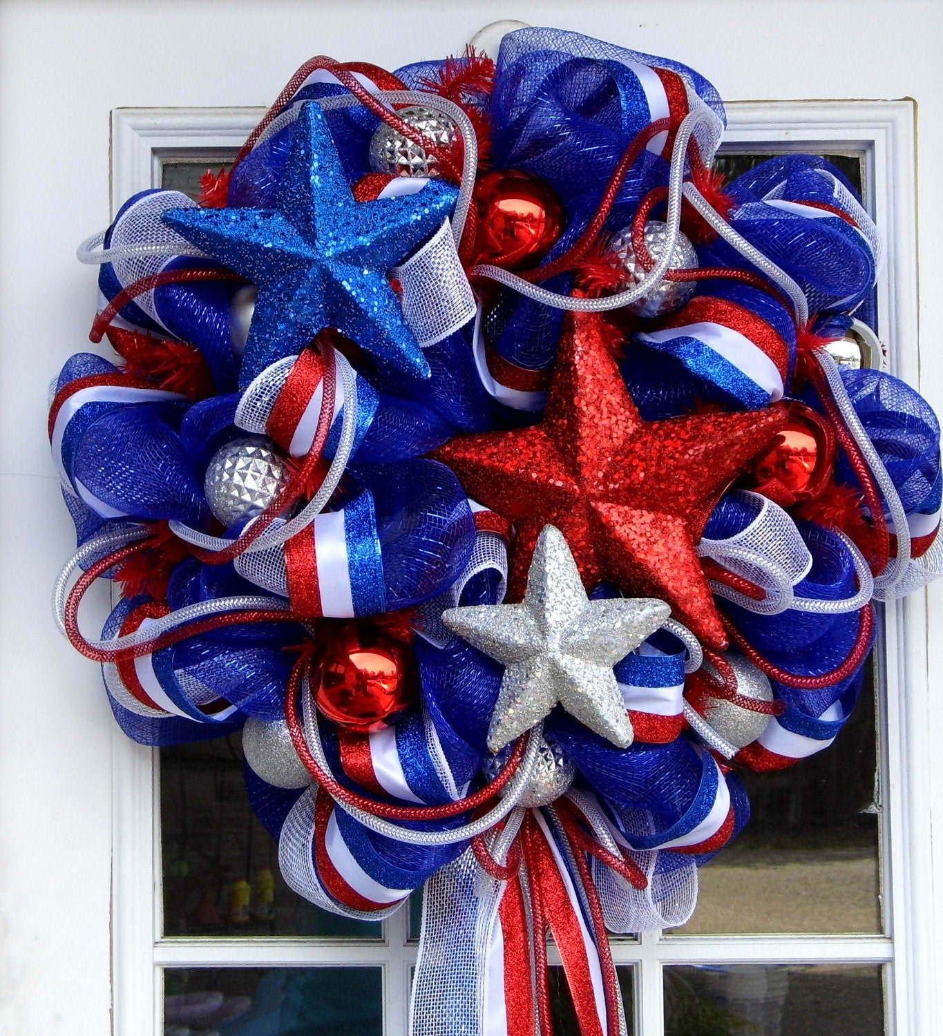 Patriotic Usa America Wreath Mesh Stars