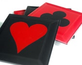 Red and Black Card Table Glass Coasters