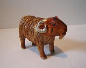 RAM,netsuke hand carved, hand painted, hand embelished with swarovski RUBY crystal,GOLDEN fleece free shipping in usa