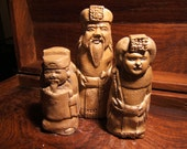 netsuke, the Royal family..the Chinese Emperor, his Queen and Royal Scribe,  set of all 3..antiqued bronze finish - tonytheplane
