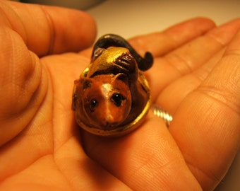 netsuke, hand carved, hand painted, FERRET is a tea pot -  clear swarovski  crystal... TREASURY ITEM